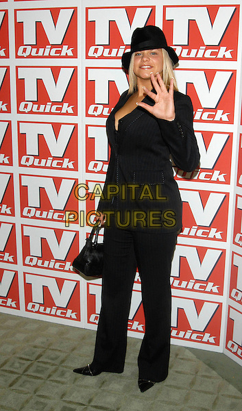 JADE GOODY .TV Quick Awards, Dorchester Hotel, London, UK..September 9th, 2002.full length black suit hat purse bag hand palm waving.CAP/PL.©Phil Loftus/Capital Pictures