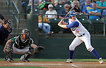 SIOUX FALLS, SD - AUGUST 12:  Nate Alfson #16 from Dell Rapids PBR waits for a pitch as catcher Scott Hoiten #22 from the Salem Cubs waits for the ball, Monday night in the fourth inning during the State Amateur Baseball Tournament at the Sioux Falls Stadium.  (Photo by Dave Eggen/Inertia)