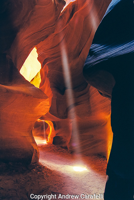 Another view of sunlight illuminating the depths of Antelope Canyon near Page, Arizona.