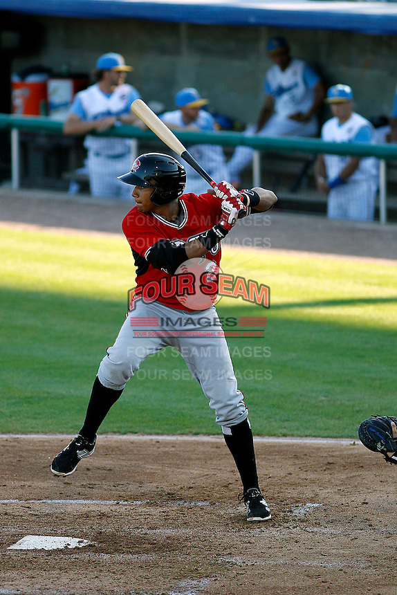 Carolina Mudcats infielder Johan Camargo (2) at bat during a game against the Myrtle Beach Pelicans at Ticketreturn.com Field at Pelicans Ballpark on June 7, 2015 in Myrtle Beach, South Carolina. Myrtle Beach defeated Carolina 4-1. (Robert Gurganus/Four Seam Images)