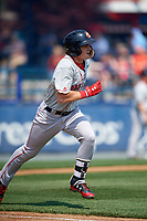 Portland Sea Dogs designated hitter Tate Matheny (7) runs to first base during the first game of a doubleheader against the Reading Fightin Phils on May 15, 2018 at FirstEnergy Stadium in Reading, Pennsylvania.  Portland defeated Reading 8-4.  (Mike Janes/Four Seam Images)
