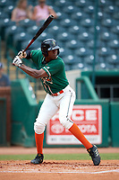 Greensboro Grasshoppers center fielder Thomas Jones (12) at bat during a game against the Lakewood BlueClaws on June 10, 2018 at First National Bank Field in Greensboro, North Carolina.  Lakewood defeated Greensboro 2-0.  (Mike Janes/Four Seam Images)