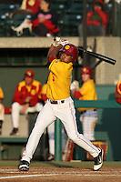 Dante Flores #3 of the USC Trojans bats against the California Bears at Dedeaux Field on April 5, 2012 in Los Angeles,California. California defeated USC 5-4.(Larry Goren/Four Seam Images)