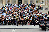 Washington, DC - August 29, 2009 -- The hearse carrying Sen. Ted Kennedy arrives at the U.S. Capitol in front of the Senate steps during the funeral procession Saturday, August 29, 2009. On the steps are friends, staffers and members of Congress.  .Credit: Ricky Carioti / Pool via CNP