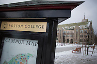 A campus map of Boston College stands on the school's campus in Chestnut Hill, Massachusetts, campus on Tues., Dec. 17, 2013.