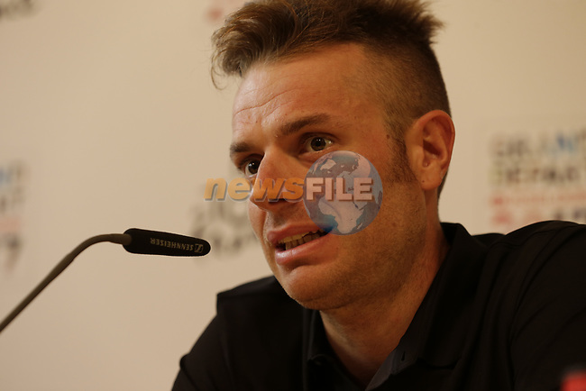 Danilo Wyss (SUI) BMC Racing Team press conference before the 104th edition of the Tour de France 2017, Dusseldorf, Germany. 29th June 2017.<br /> Picture: Eoin Clarke | Cyclefile<br /> <br /> All photos usage must carry mandatory copyright credit (&copy; Cyclefile | Eoin Clarke)