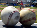 Kayden Dusto, 10, takes a throw during infield practice,  Saturday, April 21, 2018, during the opening day of Suffield little league. (Jim Michaud / Journal Inquirer)