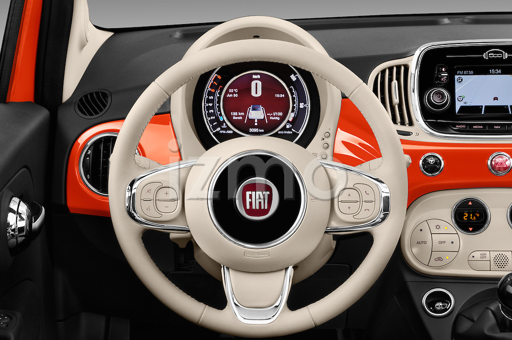 Car pictures of steering wheel view of a 2016 Fiat 500-C Lounge 2 Door Convertible Steering Wheel