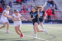 College Park, MD - April 27, 2019: John Hopkins Bluejays Maggie Schneidereith (6) in action during the game between John Hopkins and Maryland at  Capital One Field at Maryland Stadium in College Park, MD.  (Photo by Elliott Brown/Media Images International)