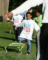 "Participant during a  D.C United clinic in support of first lady Michelle Obama's ""Let's Move"" initiative on the White House lawn, in Washington D.C. on October 7 2010."