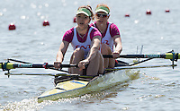 Brandenburg. GERMANY.<br /> FRA W2-. Bow Marie LE NEPVOU and Noemie KOBER, at the start of their heat at the 2016 European Rowing Championships at the Regattastrecke Beetzsee<br /> <br /> Friday  06/05/2016<br /> <br /> [Mandatory Credit; Peter SPURRIER/Intersport-images]