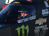 Feb 9, 2018; Pomona, CA, USA; NHRA top fuel driver Brittany Force during qualifying for the Winternationals at Auto Club Raceway at Pomona. Mandatory Credit: Mark J. Rebilas-USA TODAY Sports