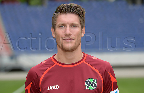 11.07.2013. Hannover, Germany.  Player Sebastien Pocognoli of German Bundesliga club Hannover 96 during the official photocall for the season 2013-14 in the HDI Arena in Hannover (Lower Saxony).