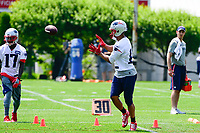 June 13, 2017: New England Patriots wide receiver Devin Lucien (13) catches the ball at the New England Patriots organized team activity held on the practice field at Gillette Stadium, in Foxborough, Massachusetts. Eric Canha/CSM