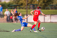 Boston, MA - Sunday September 10, 2017: Allysha Chapman and Hayley Raso during a regular season National Women's Soccer League (NWSL) match between the Boston Breakers and Portland Thorns FC at Jordan Field.