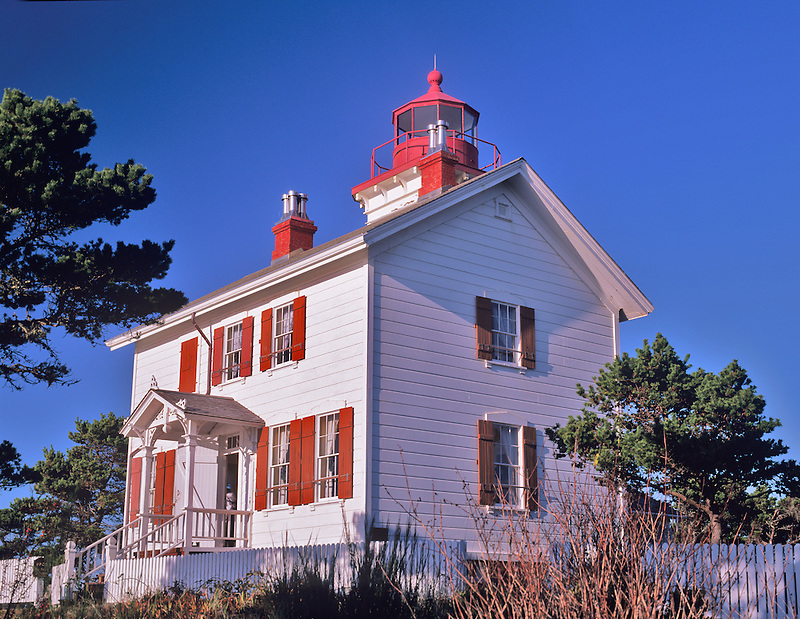 Yaquina Bay Lighthouse. Newly Painted. Oregon.