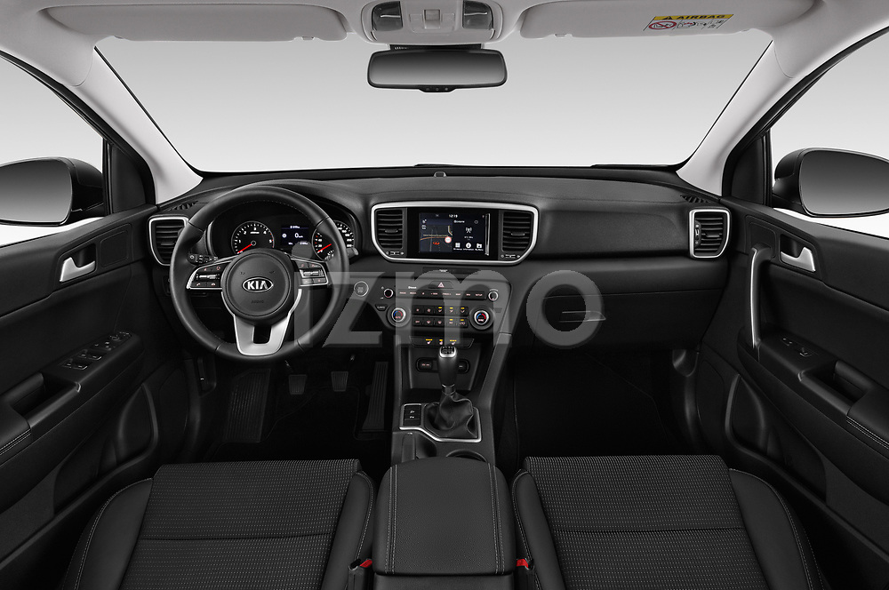 Stock photo of straight dashboard view of a 2019 KIA Sportage More 5 Door SUV