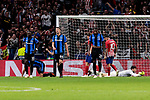 Club Brugge's (L-R) Marvelous Nakamba, Brandon Mechele and Stefano Denswil during UEFA Champions League match between Atletico de Madrid and Club Brugge at Wanda Metropolitano Stadium in Madrid, Spain. October 03, 2018. (ALTERPHOTOS/A. Perez Meca)