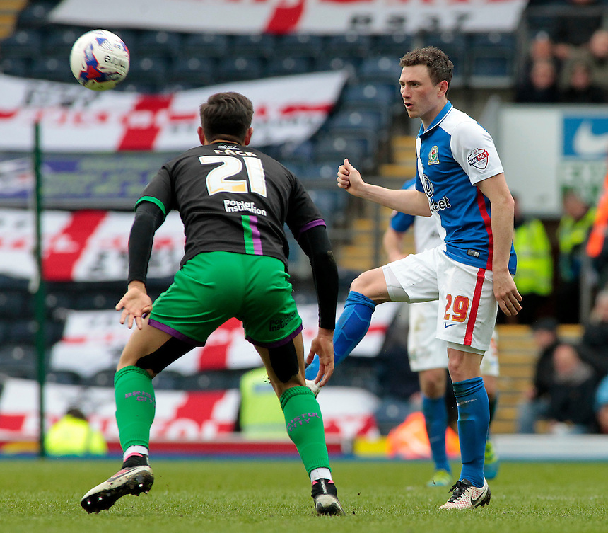 Blackburn Rovers' Corry Evans clears away from Bristol City's Marlon Pack<br /> <br /> Photographer David Shipman/CameraSport<br /> <br /> Football - The Football League Sky Bet Championship - Blackburn Rovers v Bristol City - Saturday 23rd April 2016 - Ewood Park - Blackburn <br /> <br /> &copy; CameraSport - 43 Linden Ave. Countesthorpe. Leicester. England. LE8 5PG - Tel: +44 (0) 116 277 4147 - admin@camerasport.com - www.camerasport.com