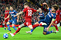 Liverpool's Alberto Moreno is challenged by Crvena Zvezda's Filip Stojkovic<br /> <br /> Photographer Richard Martin-Roberts/CameraSport<br /> <br /> UEFA Champions League Group C - Liverpool v Crvena Zvezda - Wednesday 24th October 2018 - Anfield - Liverpool<br />  <br /> World Copyright © 2018 CameraSport. All rights reserved. 43 Linden Ave. Countesthorpe. Leicester. England. LE8 5PG - Tel: +44 (0) 116 277 4147 - admin@camerasport.com - www.camerasport.com