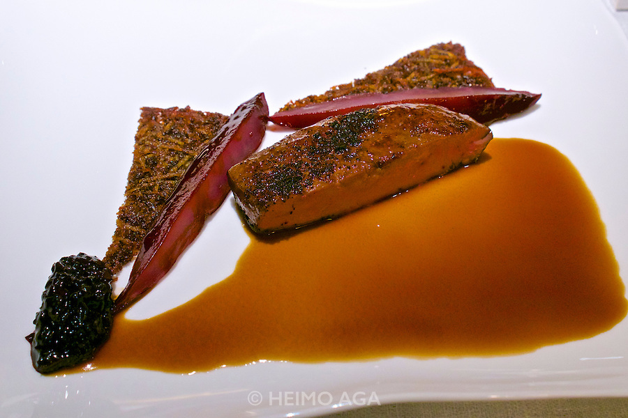 Vienna, Austria. The &quot;Steirereck&quot; with award winning Chef Heinz Reitbauer Junior is probably Vienna's best restaurant.<br /> Rehbock mit Gew&uuml;rz-Preiselbeeren, Quitten, Pastinaken &amp; Pistazien (Venison with Spiced Lingonberries, Quince, Parsnip and Pistachioes.)