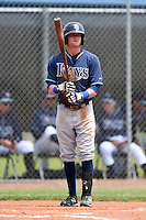 Tampa Bay Rays minor league outfielder Spencer Edwards (9) during an extended spring training game against the Boston Red Sox on April 16, 2014 at Charlotte Sports Park in Port Charlotte, Florida.  (Mike Janes/Four Seam Images)
