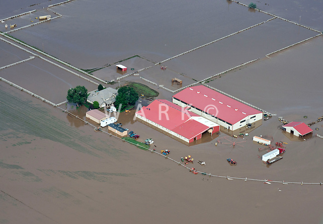 Flooding along South Platte River in Weld County, Colorado near Greeley.