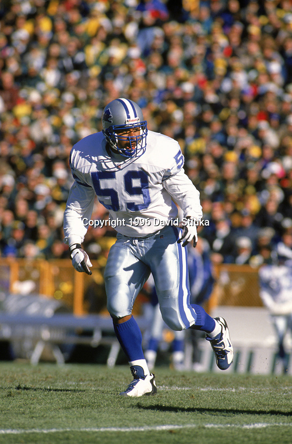 Detroit Lions linebacker Reggie Brown (59) during an NFL football game against the Green Bay Packers on November 3,1996 at Lambeau Field in Green Bay,Wisconsin. The Packers won 28-18. (Photo by David Stluka)
