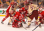 Dante Fabbro (BU - 17), Brandon Hickey (BU - 4), Colin White (BC - 18), Patrick Harper (BU - 21), Graham McPhee (BC - 27), Jake Oettinger (BU - 29) - The Boston University Terriers defeated the Boston College Eagles 3-1 in their opening Beanpot game on Monday, February 6, 2017, at TD Garden in Boston, Massachusetts.