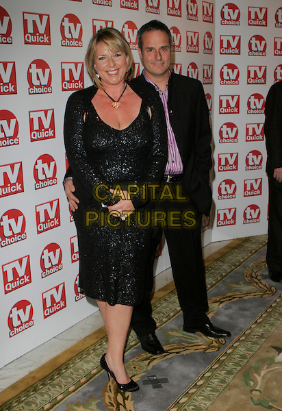 FERN BRITTON & PHIL VICKERY.Inside Arrivals at the TV Quick & TV Choice Awards,.The Dorchester Hotel, London, England, .September 3rd 2007..full length  black dress .CAP/AH.©Adam Houghton/Capital Pictures.