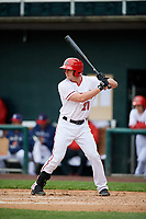 Harrisburg Senators second baseman Dan Gamache (21) at bat during the first game of a doubleheader against the New Hampshire Fisher Cats on May 13, 2018 at FNB Field in Harrisburg, Pennsylvania.  New Hampshire defeated Harrisburg 6-1.  (Mike Janes/Four Seam Images)