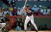 Boston Red Sox Randy Kutcher at bat during spring training circa 1991 at Chain of Lakes Park in Winter Haven, Florida.  (MJA/Four Seam Images)