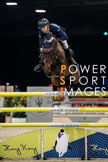 Max Kuhner of Austria riding Clelito Lindo 2 competes in the Longines Grand Prix during the Longines Masters of Hong Kong at AsiaWorld-Expo on 11 February 2018, in Hong Kong, Hong Kong. Photo by Diego Gonzalez / Power Sport Images