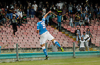 Napoli's Gonzalo Higuain celebrates after scoring during the  italian serie a soccer match against    Juventus,    at  the San  Paolo   stadium in Naples  Italy , September 26 , 2015