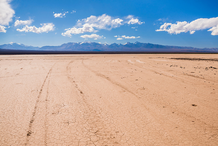 El Barreal Blanco de la Pampa del Leoncito (a dried river bed) with Cordillera de los Andes behind, Barreal, San Juan Province, Argentina
