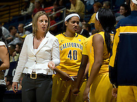 California head coach Lindsay Gottlieb talks with Brittany Boyd of California during the game against St. Mary's at Haas Pavilion in Berkeley, California on November 15th, 2012.  California defeated St. Mary's, 89-41.