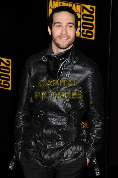 PETE WENTZ. 2009 American Music Awards - Arrivals held at the Nokia Theatre L.A. Live, Los Angeles, California, USA..November 22nd, 2009.AMA AMA's half length black leather jacket stubble beard facial hair hands in pockets .CAP/ADM/BP.©Byron Purvis/AdMedia/Capital Pictures.