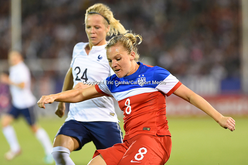 June 19, 2014 - East Hartford, Conn. U.S. - United State's Amy Rodriguez (8) in game action during the USA Women's Soccer friendly game between USA and France held at Rentschler Field in East Hartford Connecticut. The match ended with a 2-2 tied score. Eric Canha/CSM