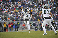 27 November 2010:  Michigan State QB Kirk Cousins (8) throws a pass while in mid air to TE Brian Linthicum (88).  The Michigan State Spartans defeated the Penn State Nittany Lions 28-22 to win the Land Grant Trophy at Beaver Stadium in State College, PA.