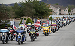 More than 70 riders with the Patriot Guard escorted Peggy Eddington-Smith and Donna Gregory to a ceremony, in Dayton, Nev., on Saturday, Sept. 20, 2013. The ceremony was the final stop in Gregory's 14 year search to return a purple heart and other personal items to  Eddinton-Smith, whose father had died in World War II.<br /> Photo by Cathleen Allison/Las Vegas Review-Journal