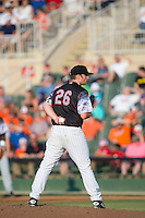 Kannapolis Intimidators starting pitcher Johnathan Frebis (26) looks to his catcher for the sign against the Delmarva Shorebirds at Kannapolis Intimidators Stadium on June 25, 2016 in Kannapolis, North Carolina.  The Intimidators defeated the Shorebirds 2-1.  (Brian Westerholt/Four Seam Images)