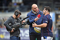 Rob Webber is interviewed by Ben Kay for BT Sport. Aviva Premiership match, between London Wasps and Bath Rugby on November 24, 2013 at Adams Park in High Wycombe, England. Photo by: Patrick Khachfe / Onside Images