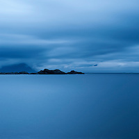 Dark weather over coast, Stamsund, Lofoten islands, Norway