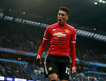 Chris Smalling of Manchester United celebrates scoring the third goal during the premier league match at the Etihad Stadium, Manchester. Picture date 7th April 2018. Picture credit should read: Simon Bellis/Sportimage
