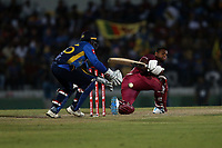 February 26th 2020,the Mahinda Rajapaksha International Stadium, Hambantota, Sri Lanka; One Day International cricket, Sri Lanka versus West Indies; Nicholas Pooran miss times a shot and collected by the wicket-keeper