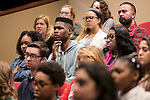 "College of Communication journalism students listen to Carol Marin, co-director of the Center for Journalism Integrity and Excellence, Lester Holt, anchor of ""NBC Nightly News"" and Ben Welsh, a DePaul alumnus and data journalist with the Los Angeles Times, during a talk, Thursday, April 20, 2017. The center honored Holt and Welsh for work that embodies the highest principles of journalism, including truth, accuracy, fairness and context. (DePaul University/Jeff Carrion)"