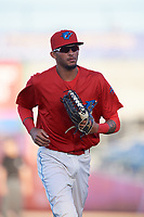 Clearwater Threshers right fielder Jose Pujols (23) jogs back to the dugout during a game against the Dunedin Blue Jays on April 7, 2017 at Spectrum Field in Clearwater, Florida.  Dunedin defeated Clearwater 7-4.  (Mike Janes/Four Seam Images)