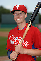 John Aiello (46) of Germantown Academy in Lansdale, Pennsylvania poses for a photo while playing for the Philadelphia Phillies scout team during the East Coast Pro Showcase on August 1, 2014 at NBT Bank Stadium in Syracuse, New York.  (Mike Janes/Four Seam Images)