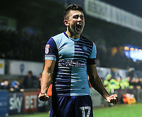 Luke O'Nien of Wycombe Wanderers celebrates after he scores his team's second goal of the game against Morcambe to make it 2-0 during the Sky Bet League 2 match between Wycombe Wanderers and Morecambe at Adams Park, High Wycombe, England on 12 November 2016. Photo by David Horn.
