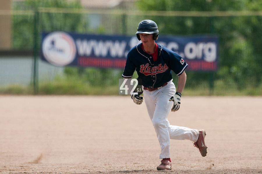 23 May 2009: Anthony Piquet of La Guerche runs the bases during the 2009 challenge de France, a tournament with the best French baseball teams - all eight elite league clubs - to determine a spot in the European Cup next year, at Montpellier, France. Rouen wins 6-2 over La Guerche.